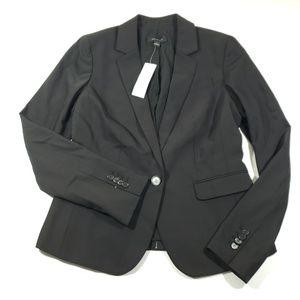 Ann taylor Womens solid black button up blazer 2